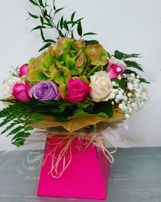Rose and Hydrangea Hand tied